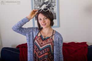 Spunky pixie haired amateur Sarah V does some nude yoga